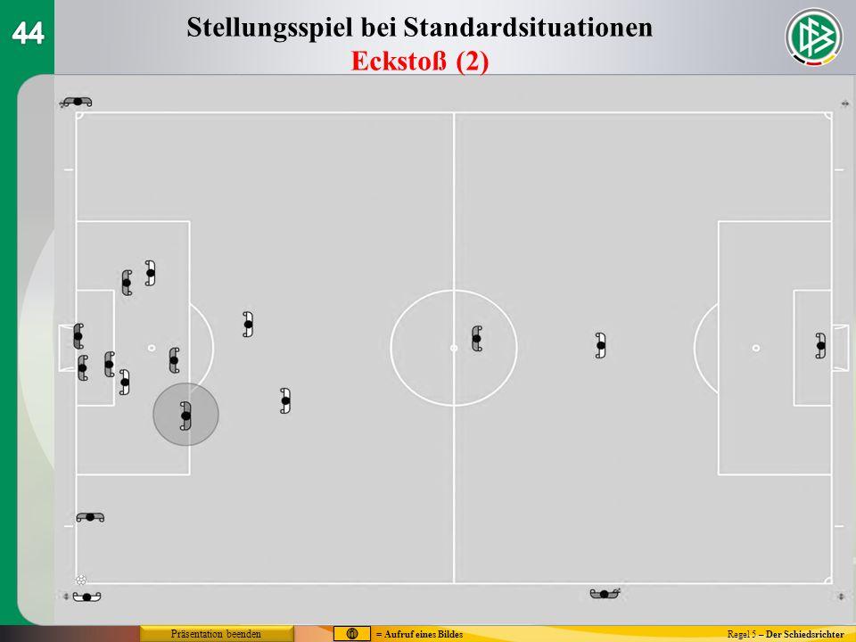 Regel 5 – Der Schiedsrichter Stellungsspiel bei Standardsituationen Eckstoß (2) = Aufruf eines Bildes Präsentation beenden