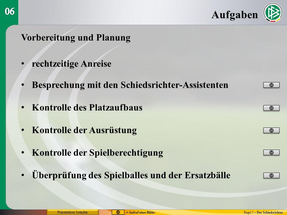 Regel 5 – Der Schiedsrichter Stellungsspiel bei Standardsituationen Freistoß (3) = Aufruf eines Bildes Präsentation beenden