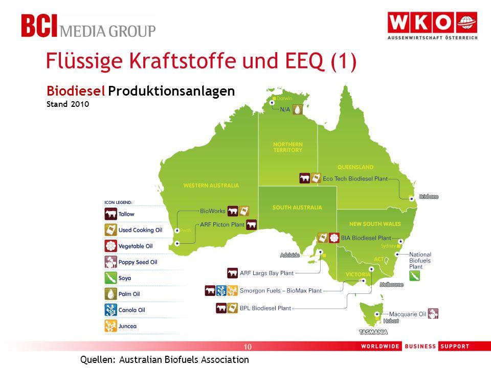 10 Flüssige Kraftstoffe und EEQ (1) Quellen: Australian Biofuels Association Biodiesel Produktionsanlagen Stand 2010