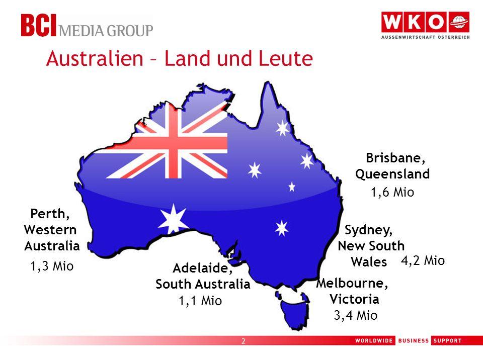 2 Australien – Land und Leute Perth, Western Australia Adelaide, South Australia Melbourne, Victoria Sydney, New South Wales Brisbane, Queensland 1,1