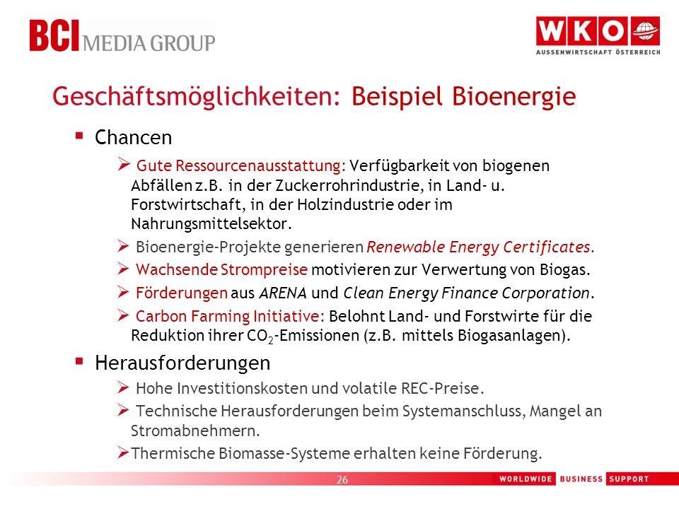 26 Geschäftsmöglichkeiten: Beispiel Bioenergie Chancen Gute Ressourcenausstattung: Verfügbarkeit von biogenen Abfällen z.B. in der Zuckerrohrindustrie