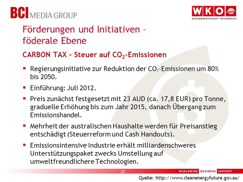 28 CARBON TAX – Steuer auf CO 2 -Emissionen Regierungsinitiative zur Reduktion der CO ² -Emissionen um 80% bis 2050. Einführung: Juli 2012. Preis zunä
