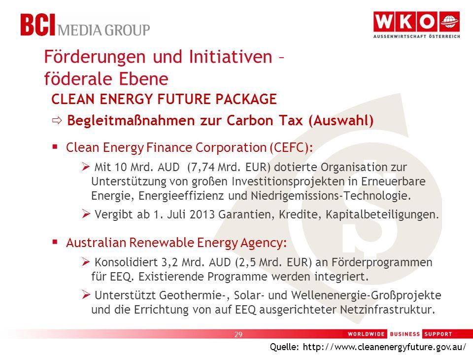 29 CLEAN ENERGY FUTURE PACKAGE Begleitmaßnahmen zur Carbon Tax (Auswahl) Clean Energy Finance Corporation (CEFC): Mit 10 Mrd. AUD (7,74 Mrd. EUR) doti
