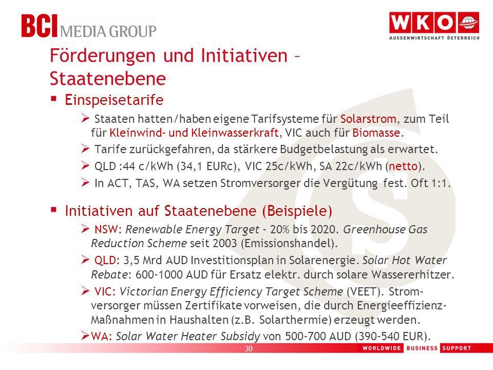 30 Einspeisetarife Staaten hatten/haben eigene Tarifsysteme für Solarstrom, zum Teil für Kleinwind- und Kleinwasserkraft, VIC auch für Biomasse. Tarif