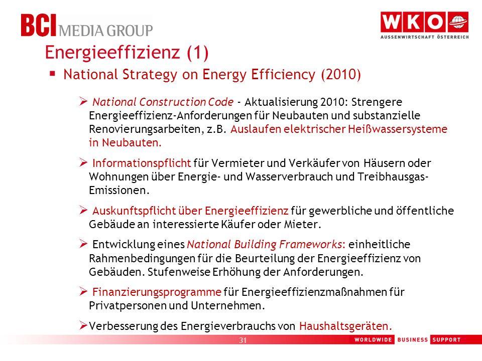 31 National Strategy on Energy Efficiency (2010) National Construction Code - Aktualisierung 2010: Strengere Energieeffizienz-Anforderungen für Neubau