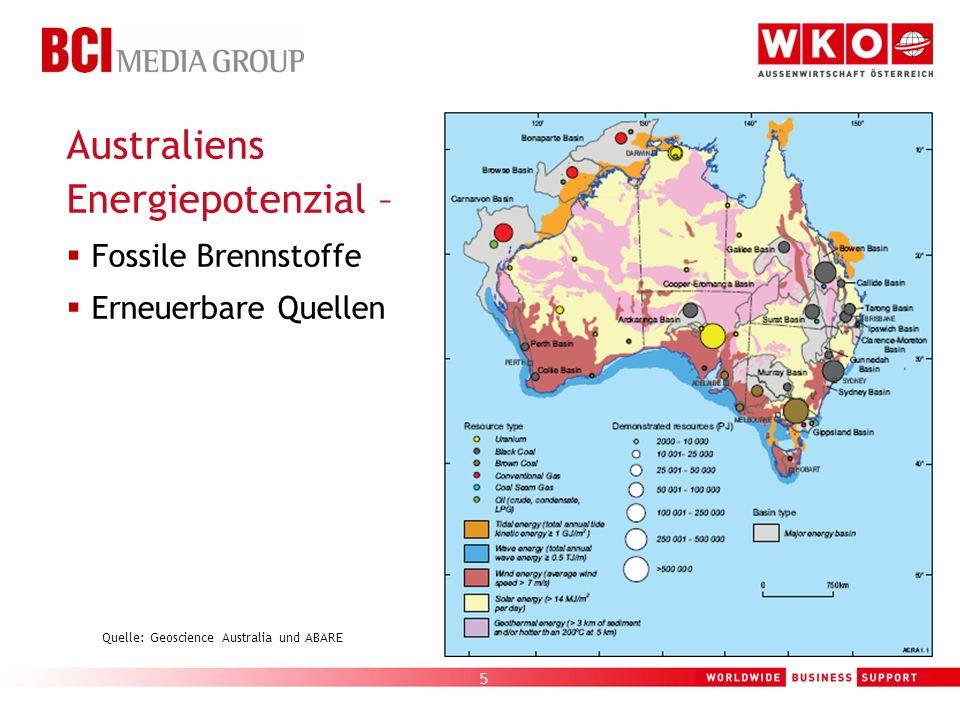 5 Quelle: Geoscience Australia und ABARE Australiens Energiepotenzial – Fossile Brennstoffe Erneuerbare Quellen