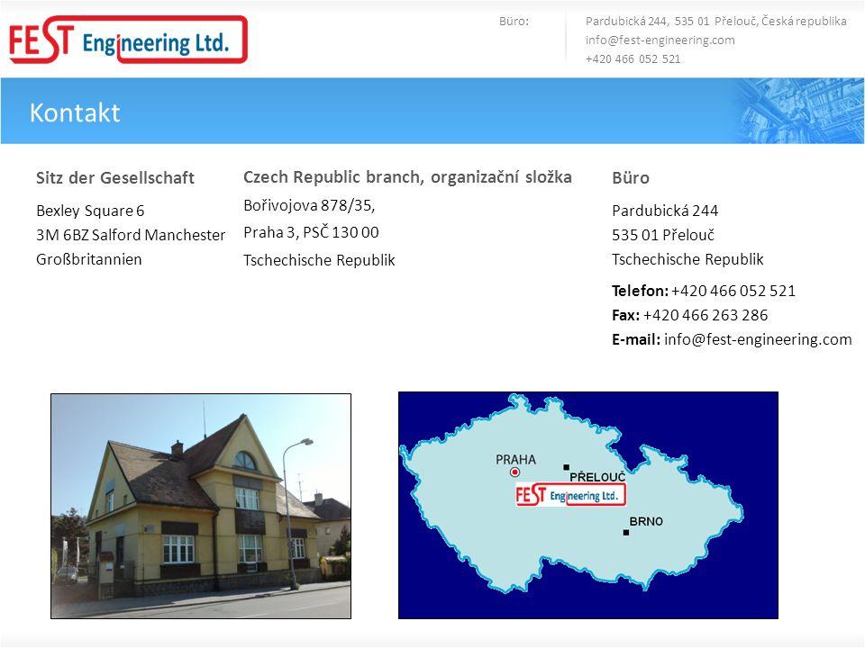 Kontakt Büro: Pardubická 244, 535 01 Přelouč, Česká republika info@fest-engineering.com +420 466 052 521 Sitz der Gesellschaft Bexley Square 6 3M 6BZ
