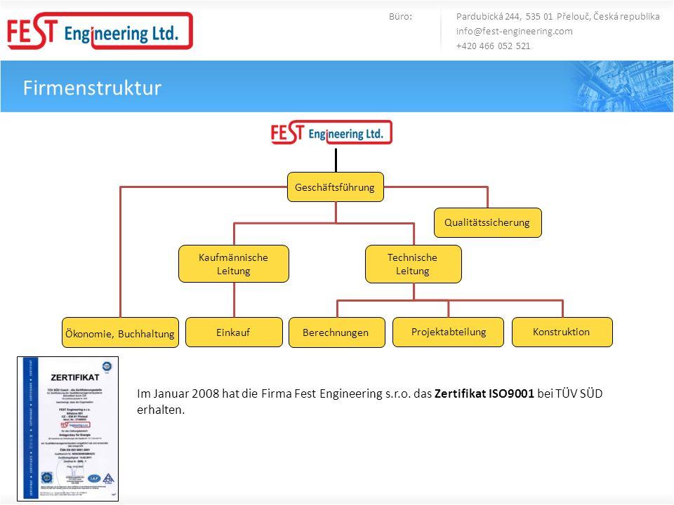 Firmenstruktur Büro: Pardubická 244, 535 01 Přelouč, Česká republika info@fest-engineering.com +420 466 052 521 Geschäftsführung Qualitätssicherung Ko