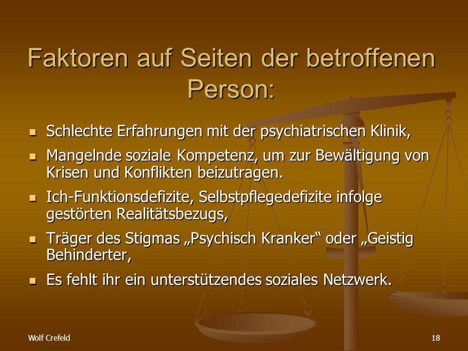 Wolf Crefeld18 Faktoren auf Seiten der betroffenen Person: Schlechte Erfahrungen mit der psychiatrischen Klinik, Schlechte Erfahrungen mit der psychiatrischen Klinik, Mangelnde soziale Kompetenz, um zur Bewältigung von Krisen und Konflikten beizutragen.