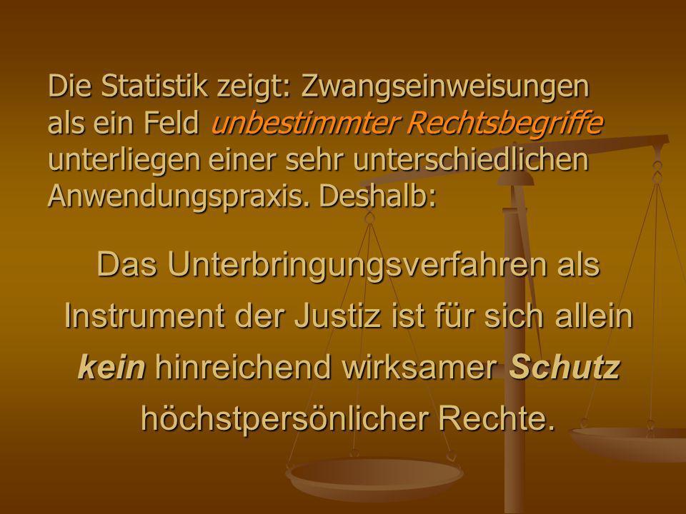 Das Unterbringungsverfahren als Instrument der Justiz ist für sich allein kein hinreichend wirksamer Schutz höchstpersönlicher Rechte.