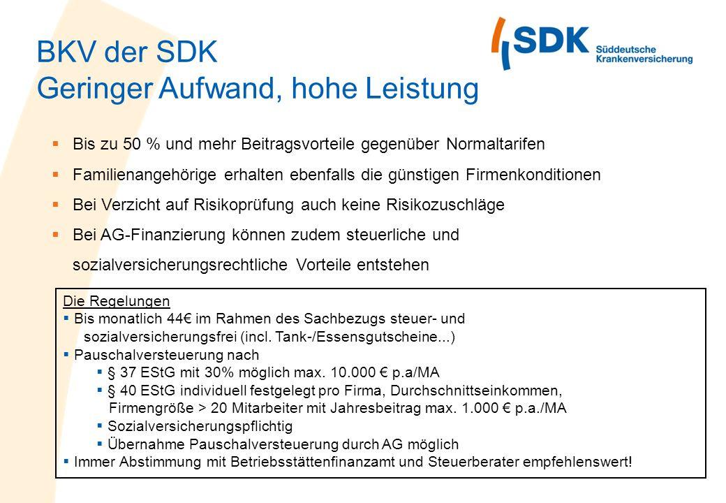 BKV der SDK Geringer Aufwand, hohe Leistung Bis zu 50 % und mehr Beitragsvorteile gegenüber Normaltarifen Familienangehörige erhalten ebenfalls die gü