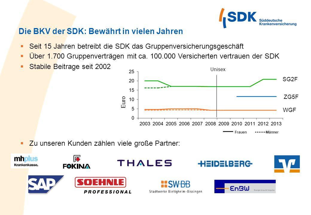 Die BKV der SDK: Bewährt in vielen Jahren Stabile Beitrage seit 2002 Seit 15 Jahren betreibt die SDK das Gruppenversicherungsgeschäft Über 1.700 Grupp