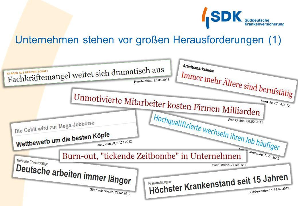 Unternehmen stehen vor großen Herausforderungen (1) Handelsblatt, 23.05.2012 Unternehmen.de, 11.01.2012 Süddeutsche.de, 21.02.2012 Handelsblatt, 07.03