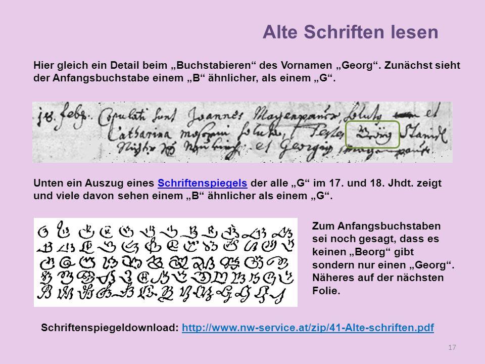 Hier gleich ein Detail beim Buchstabieren des Vornamen Georg. Zunächst sieht der Anfangsbuchstabe einem B ähnlicher, als einem G. Unten ein Auszug ein