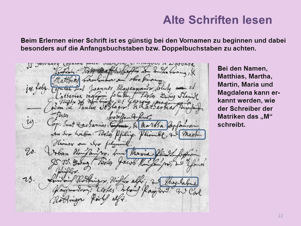 Bei den Namen, Matthias, Martha, Martin, Maria und Magdalena kann er- kannt werden, wie der Schreiber der Matriken das M schreibt.