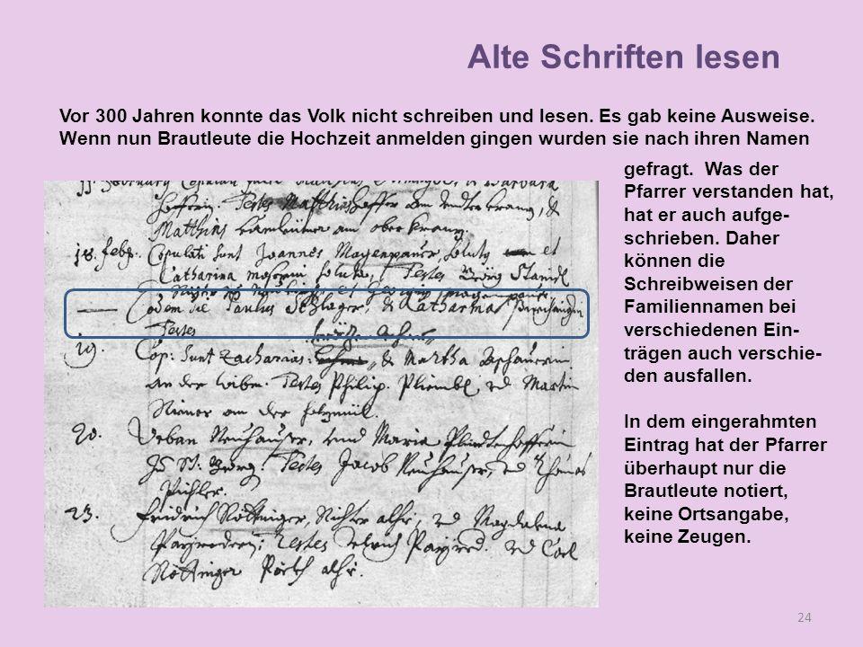 Vor 300 Jahren konnte das Volk nicht schreiben und lesen. Es gab keine Ausweise. Wenn nun Brautleute die Hochzeit anmelden gingen wurden sie nach ihre