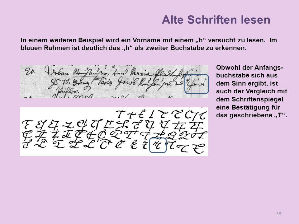 Obwohl der Anfangs- buchstabe sich aus dem Sinn ergibt, ist auch der Vergleich mit dem Schriftenspiegel eine Bestätigung für das geschriebene T. 33 In