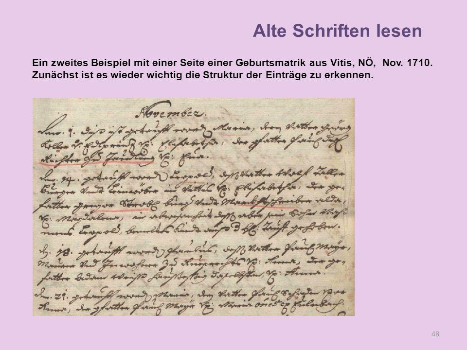 Ein zweites Beispiel mit einer Seite einer Geburtsmatrik aus Vitis, NÖ, Nov. 1710. Zunächst ist es wieder wichtig die Struktur der Einträge zu erkenne