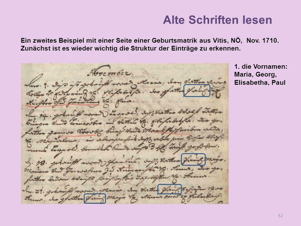 A 52 1. die Vornamen: Maria, Georg, Elisabetha, Paul Alte Schriften lesen Ein zweites Beispiel mit einer Seite einer Geburtsmatrik aus Vitis, NÖ, Nov.