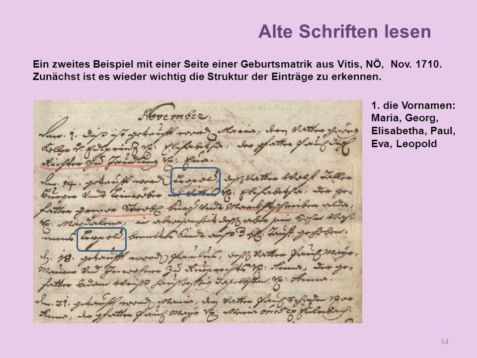 A 54 1. die Vornamen: Maria, Georg, Elisabetha, Paul, Eva, Leopold Alte Schriften lesen Ein zweites Beispiel mit einer Seite einer Geburtsmatrik aus V