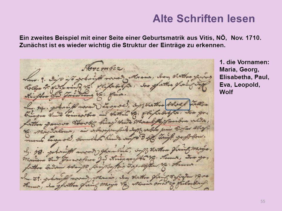 A 55 1. die Vornamen: Maria, Georg, Elisabetha, Paul, Eva, Leopold, Wolf Alte Schriften lesen Ein zweites Beispiel mit einer Seite einer Geburtsmatrik