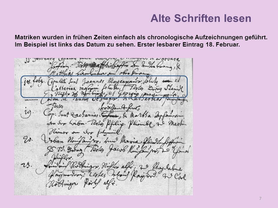 Lesen Matriken wurden in frühen Zeiten einfach als chronologische Aufzeichnungen geführt. Im Beispiel ist links das Datum zu sehen. Erster lesbarer Ei