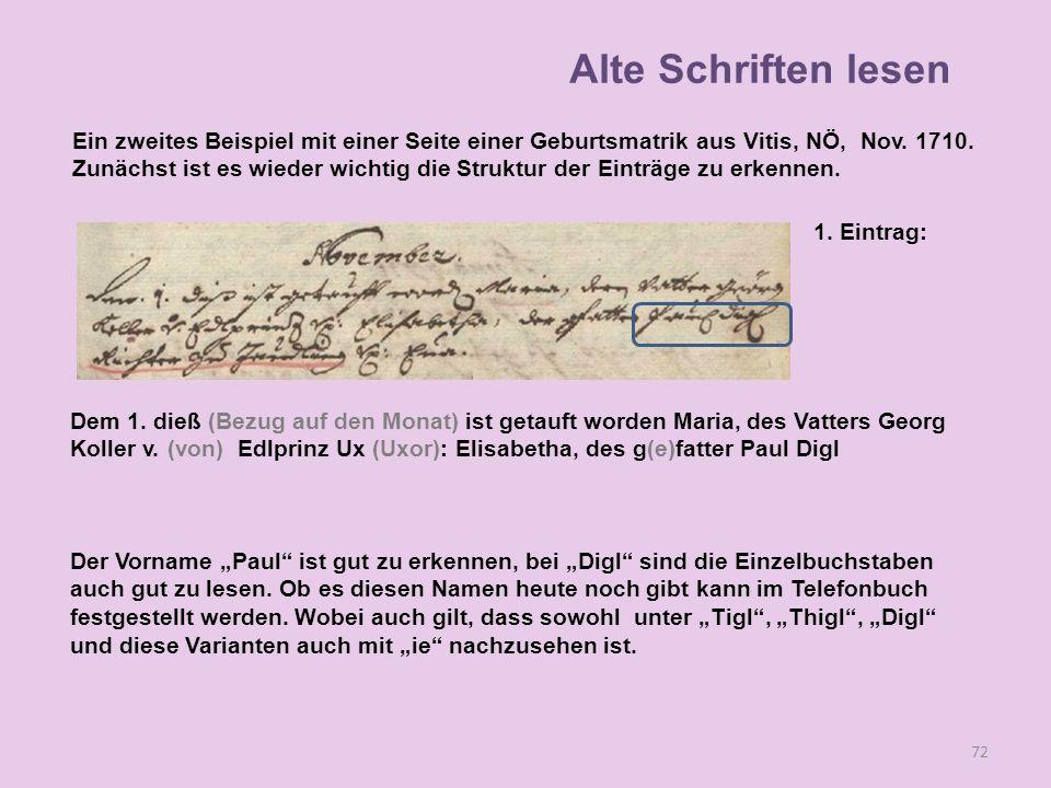 72 1. Eintrag: Dem 1. dieß (Bezug auf den Monat) ist getauft worden Maria, des Vatters Georg Koller v. (von) Edlprinz Ux (Uxor): Elisabetha, des g(e)f