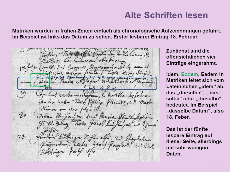 10 Alte Schriften lesen Nun wird die Struktur des Eintrages näher betrachtet.