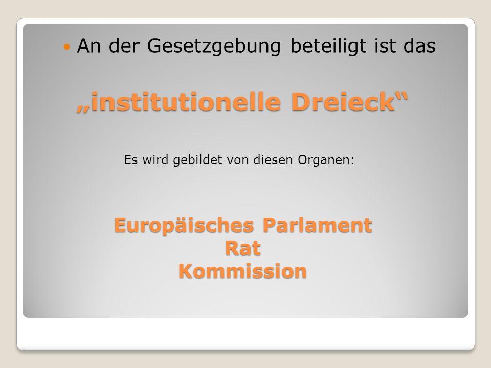 institutionelle Dreieck An der Gesetzgebung beteiligt ist das Europäisches Parlament RatKommission Es wird gebildet von diesen Organen: