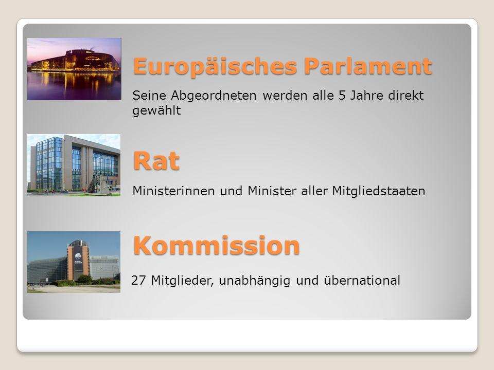 Europäisches Parlament Seine Abgeordneten werden alle 5 Jahre direkt gewählt Rat Ministerinnen und Minister aller Mitgliedstaaten Kommission 27 Mitgli
