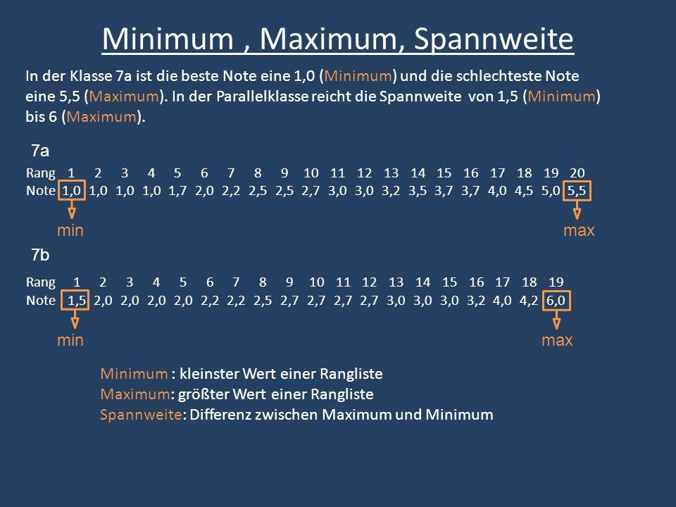 Um weitere Aussagen über die Verteilung der Daten machen zu können benötigt man weitere Kennwerte, die Quartile.