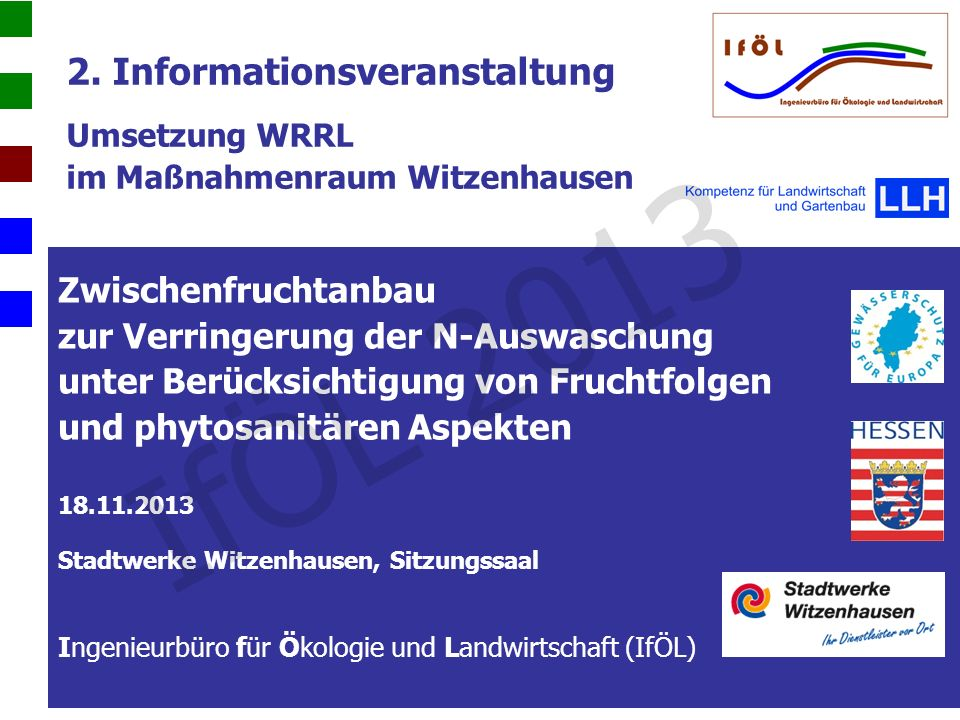 Beobachtungen: 1)Feldaufgang 2)Entwicklung bis Ende Oktober Nährstoffgehalte: 1)N min 2)Nährstoffgehalte in den Zwischenfrüchten Ergebnisse der Analysen IfÖL 2013