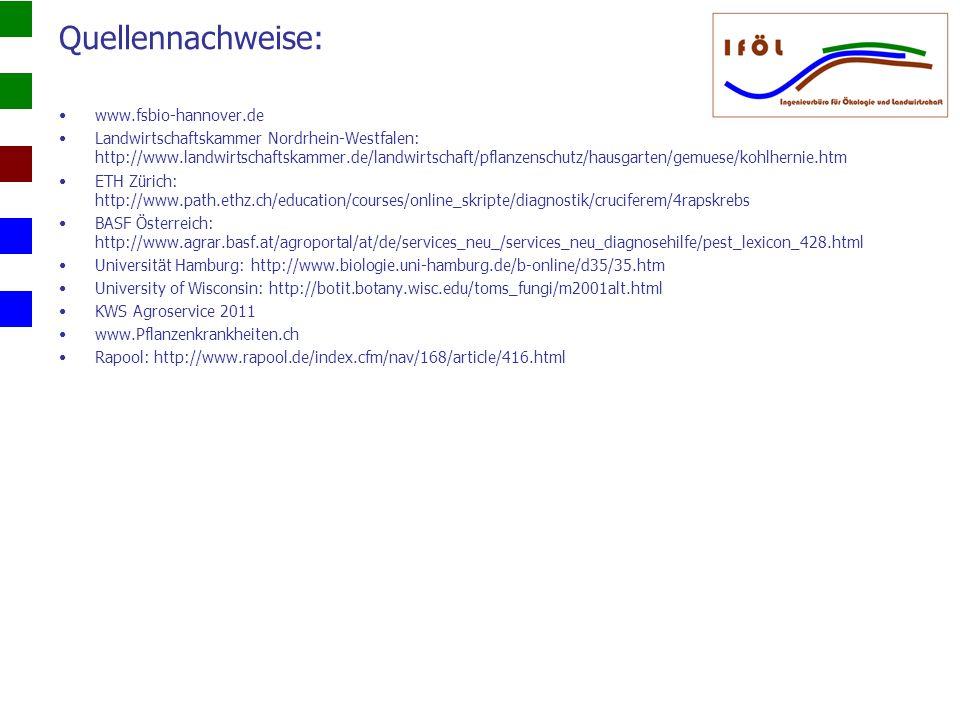 Quellennachweise: www.fsbio-hannover.de Landwirtschaftskammer Nordrhein-Westfalen: http://www.landwirtschaftskammer.de/landwirtschaft/pflanzenschutz/h
