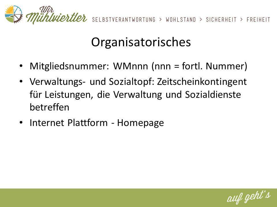 Organisatorisches Mitgliedsnummer: WMnnn (nnn = fortl.