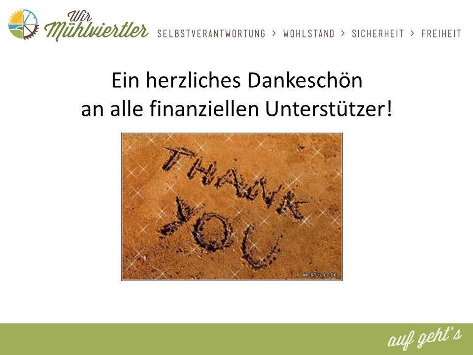 Ein herzliches Dankeschön an alle finanziellen Unterstützer!