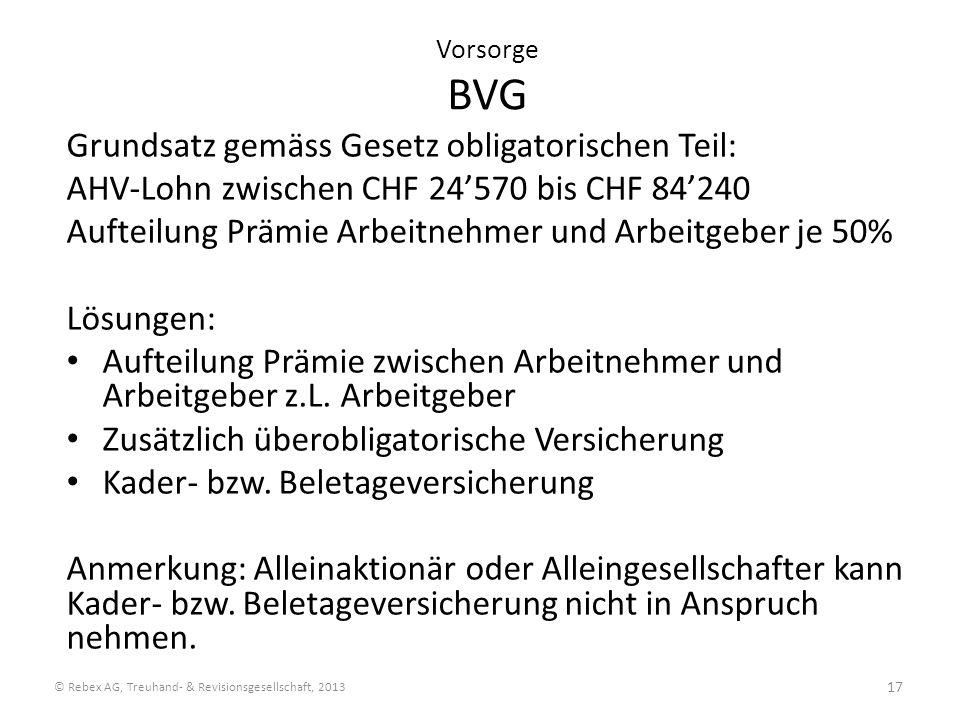 Vorsorge BVG Grundsatz gemäss Gesetz obligatorischen Teil: AHV-Lohn zwischen CHF 24570 bis CHF 84240 Aufteilung Prämie Arbeitnehmer und Arbeitgeber je