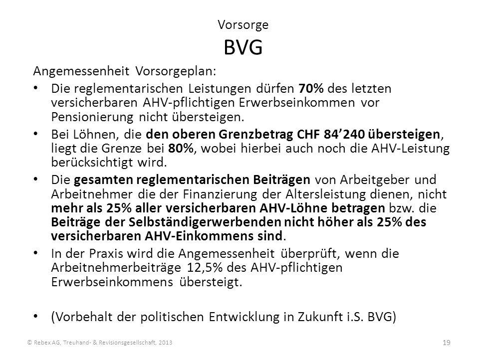 Vorsorge BVG Angemessenheit Vorsorgeplan: Die reglementarischen Leistungen dürfen 70% des letzten versicherbaren AHV-pflichtigen Erwerbseinkommen vor