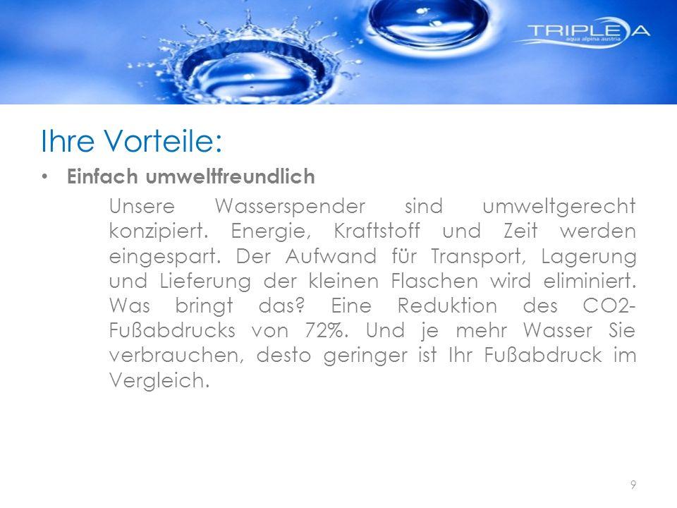 Ihre Vorteile: Einfach umweltfreundlich Unsere Wasserspender sind umweltgerecht konzipiert. Energie, Kraftstoff und Zeit werden eingespart. Der Aufwan