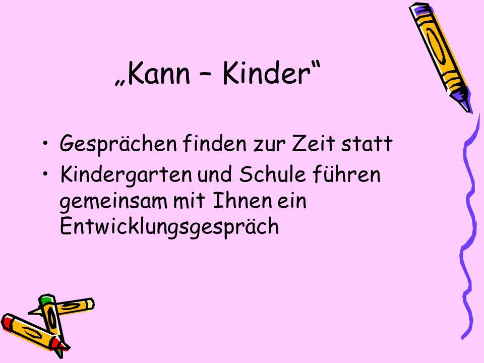 Kann – Kinder Gesprächen finden zur Zeit statt Kindergarten und Schule führen gemeinsam mit Ihnen ein Entwicklungsgespräch