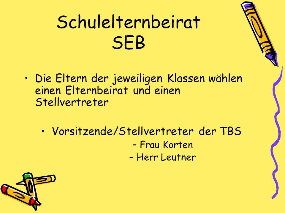 Schulelternbeirat SEB Die Eltern der jeweiligen Klassen wählen einen Elternbeirat und einen Stellvertreter Vorsitzende/Stellvertreter der TBS –Frau Ko