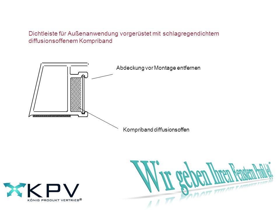 Abdeckung vor Montage entfernen Kompriband diffusionsoffen Dichtleiste für Außenanwendung vorgerüstet mit schlagregendichtem diffusionsoffenem Komprib