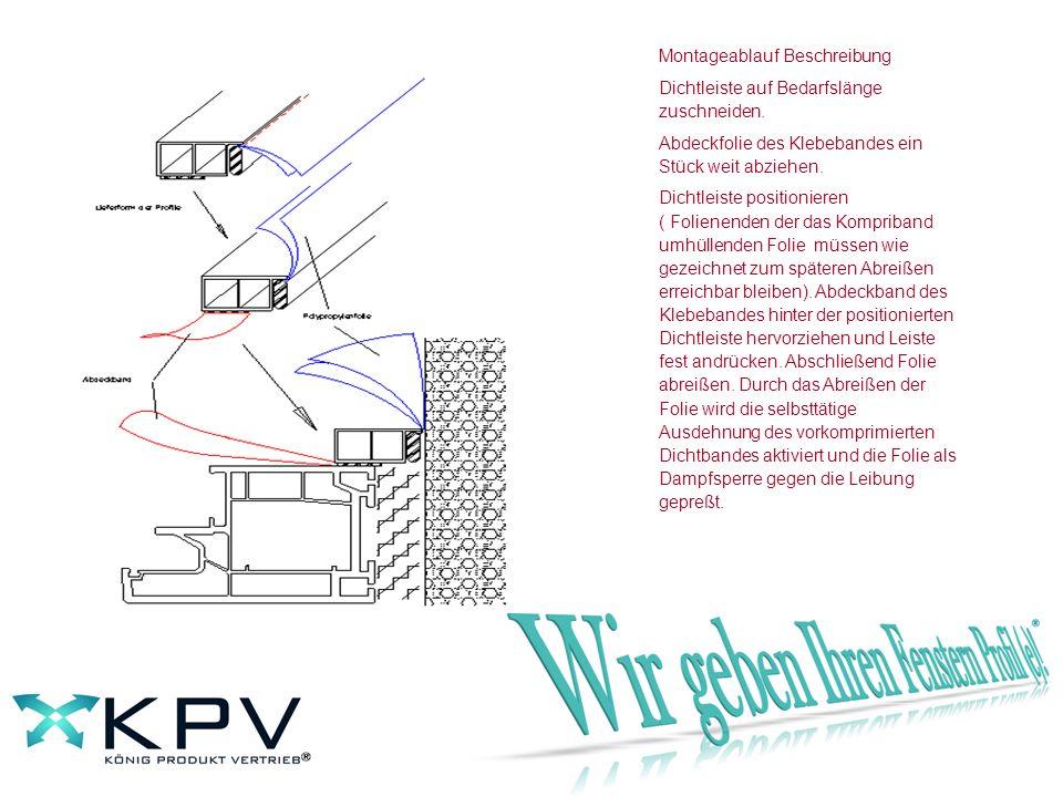 Dichtleiste für innen mit vorgerüstetem Kompriband und Wasserdampf - Diffusionssperrfolie