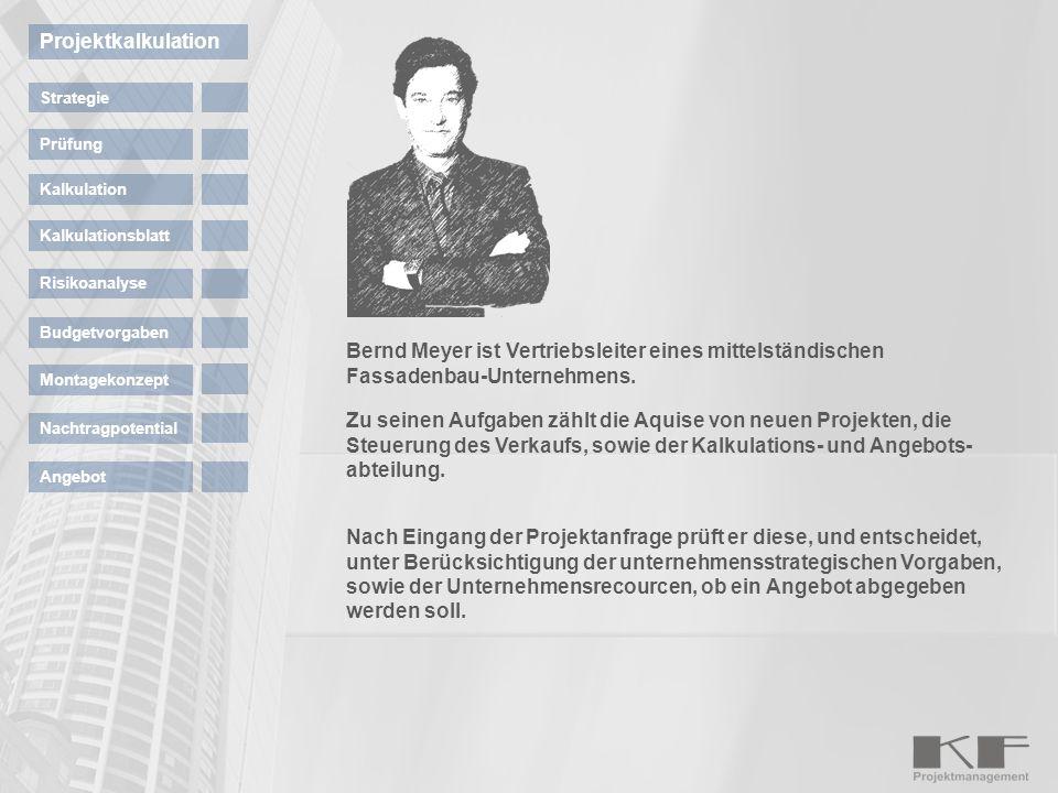 Bernd Meyer ist Vertriebsleiter eines mittelständischen Fassadenbau-Unternehmens. Zu seinen Aufgaben zählt die Aquise von neuen Projekten, die Steueru