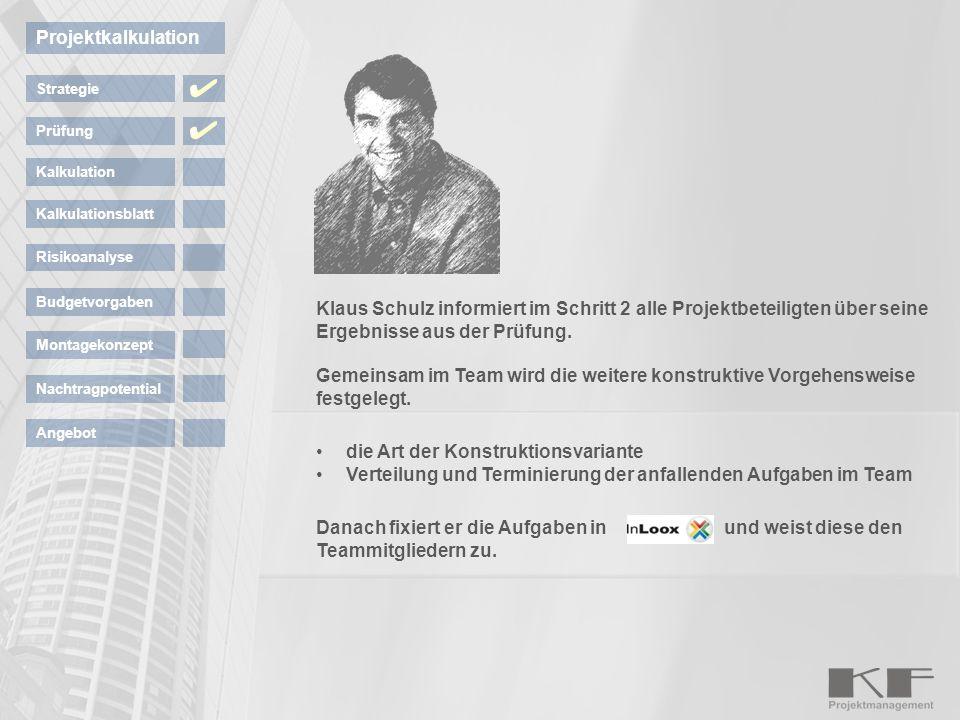Klaus Schulz informiert im Schritt 2 alle Projektbeteiligten über seine Ergebnisse aus der Prüfung. Gemeinsam im Team wird die weitere konstruktive Vo