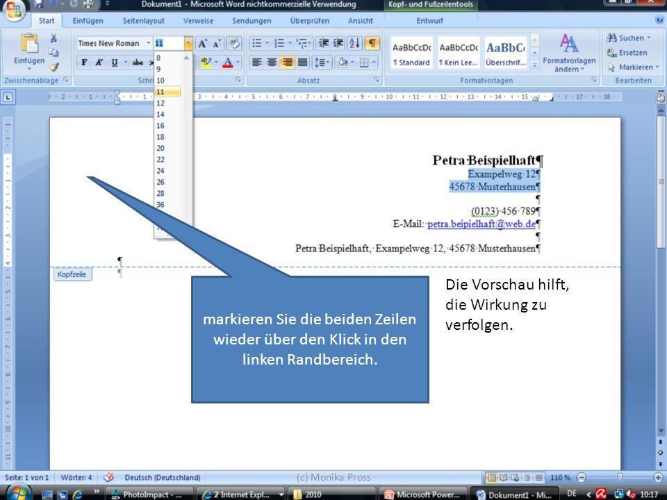 (c) Monika Pross Die Vorschau hilft, die Wirkung zu verfolgen. markieren Sie die beiden Zeilen wieder über den Klick in den linken Randbereich.