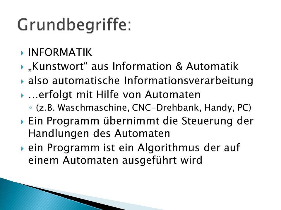 INFORMATIK Kunstwort aus Information & Automatik also automatische Informationsverarbeitung …erfolgt mit Hilfe von Automaten (z.B. Waschmaschine, CNC-