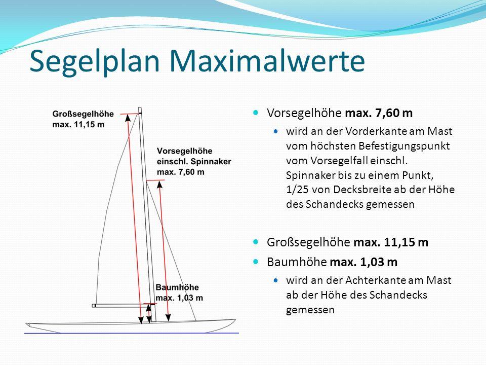 Segelplan Maximalwerte Vorsegelhöhe max. 7,60 m wird an der Vorderkante am Mast vom höchsten Befestigungspunkt vom Vorsegelfall einschl. Spinnaker bis