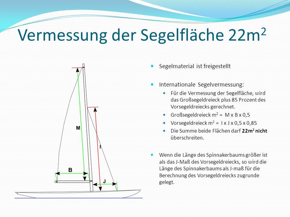 Vermessung der Segelfläche 22m 2 Segelmaterial ist freigestellt Internationale Segelvermessung: Für die Vermessung der Segelfläche, wird das Großsegel