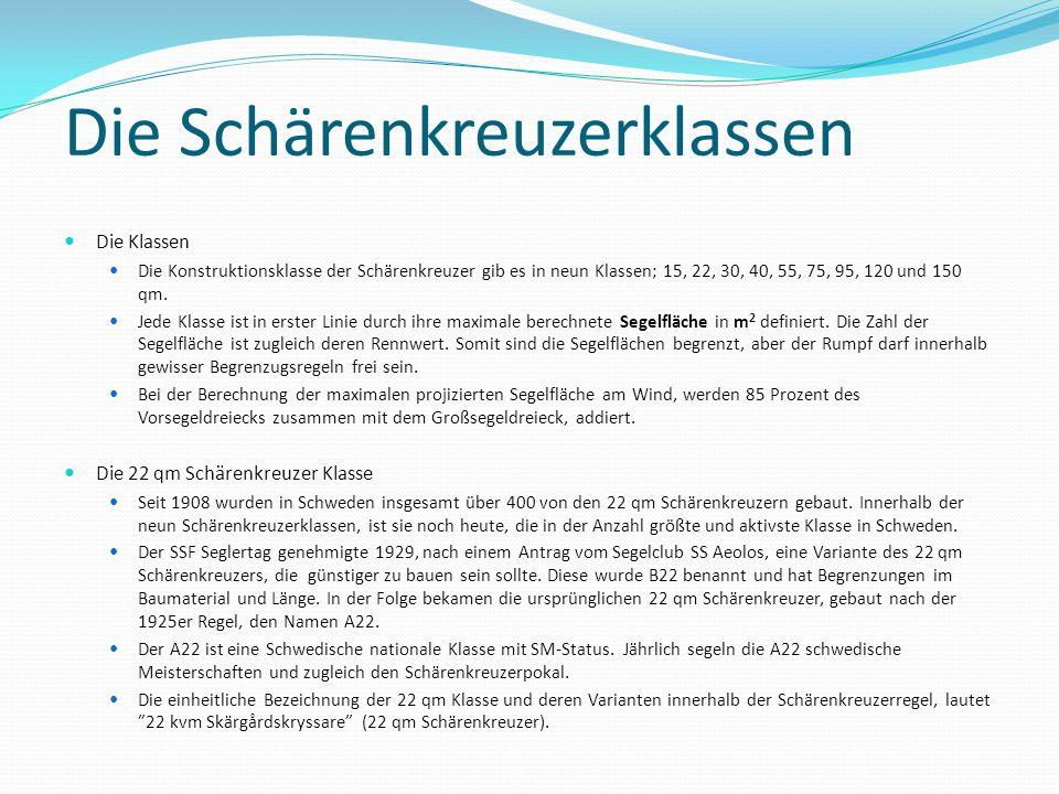 Die Schärenkreuzerklassen Die Klassen Die Konstruktionsklasse der Schärenkreuzer gib es in neun Klassen; 15, 22, 30, 40, 55, 75, 95, 120 und 150 qm. J