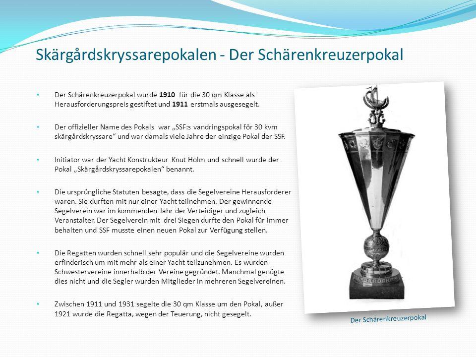 Skärgårdskryssarepokalen - Der Schärenkreuzerpokal Der Schärenkreuzerpokal wurde 1910 für die 30 qm Klasse als Herausforderungspreis gestiftet und 191